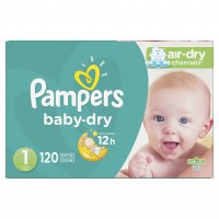 Pampers Baby Dry Pañales Talla 1 (8 a 14 lbs) 1x120 unds Caja