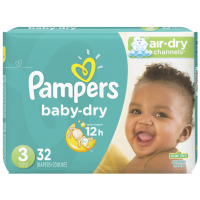 Pampers Baby Dry Talla 3 Jumbo, 32 Unidades