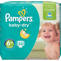 Pampers Baby Dry Pañales Talla 6, 32 Unidades
